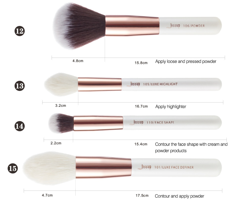 Jessup Pearl White/Rose Gold Professional Makeup Brushes Set