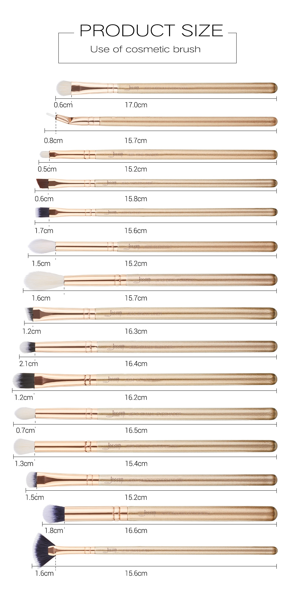 Jessup 15PCS Golden/ Rose Gold Makeup brushes set Beauty kits