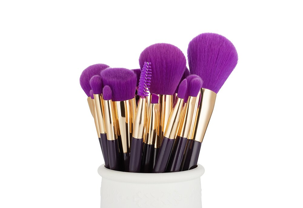 Makeup Brushes Set 15pcs Blue/Purple Eyeliner Contour