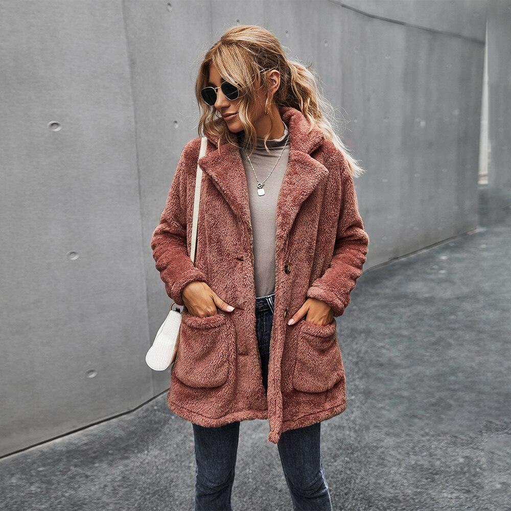Single Breasted Pockets Ladies Elegant Coat