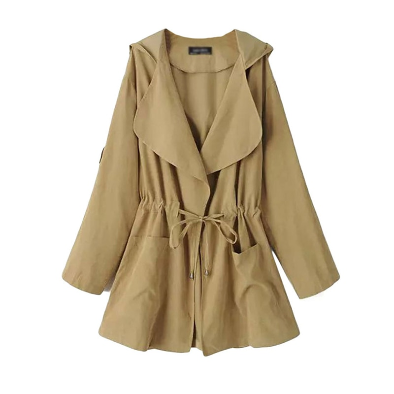 Fashion Trench Coat For Women Solid Long Sleeve & Hooded