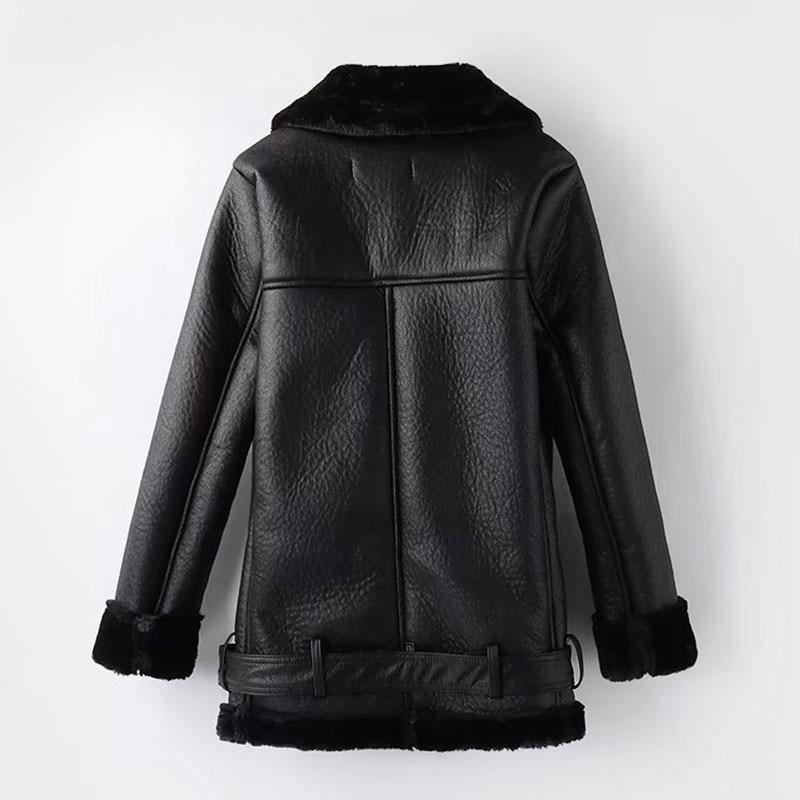 Winter Leather Sheepskin Coats Inner Faux  Overcoats For Women