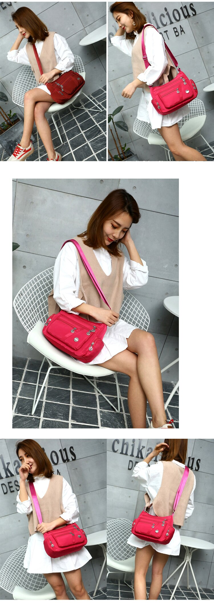 Women Shoulder Messenger Bag Casual Waterproof Nylon Zipper