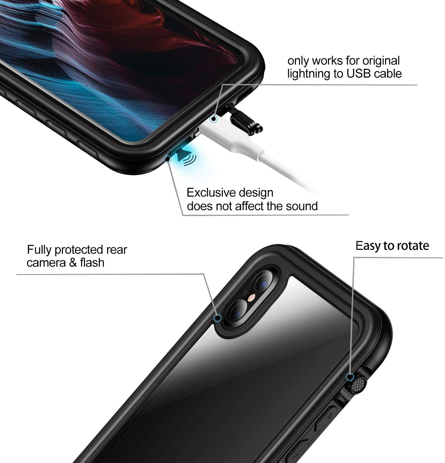 For iPhone X/XS XR XSMax IP68 Diving Waterproof Case Cover