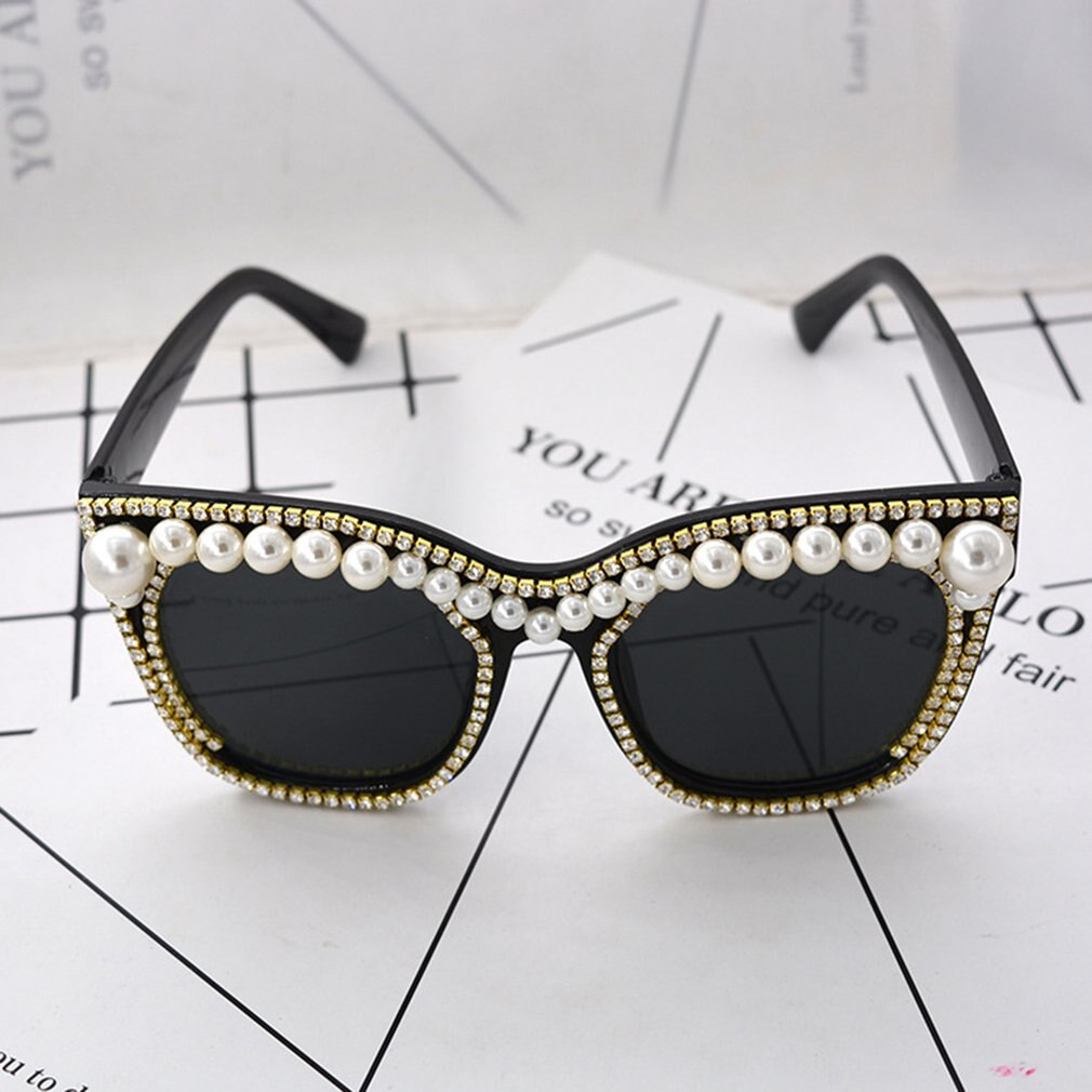 Vintage Metal Pearl And Diamond Large Frame Round Face Sunglasses