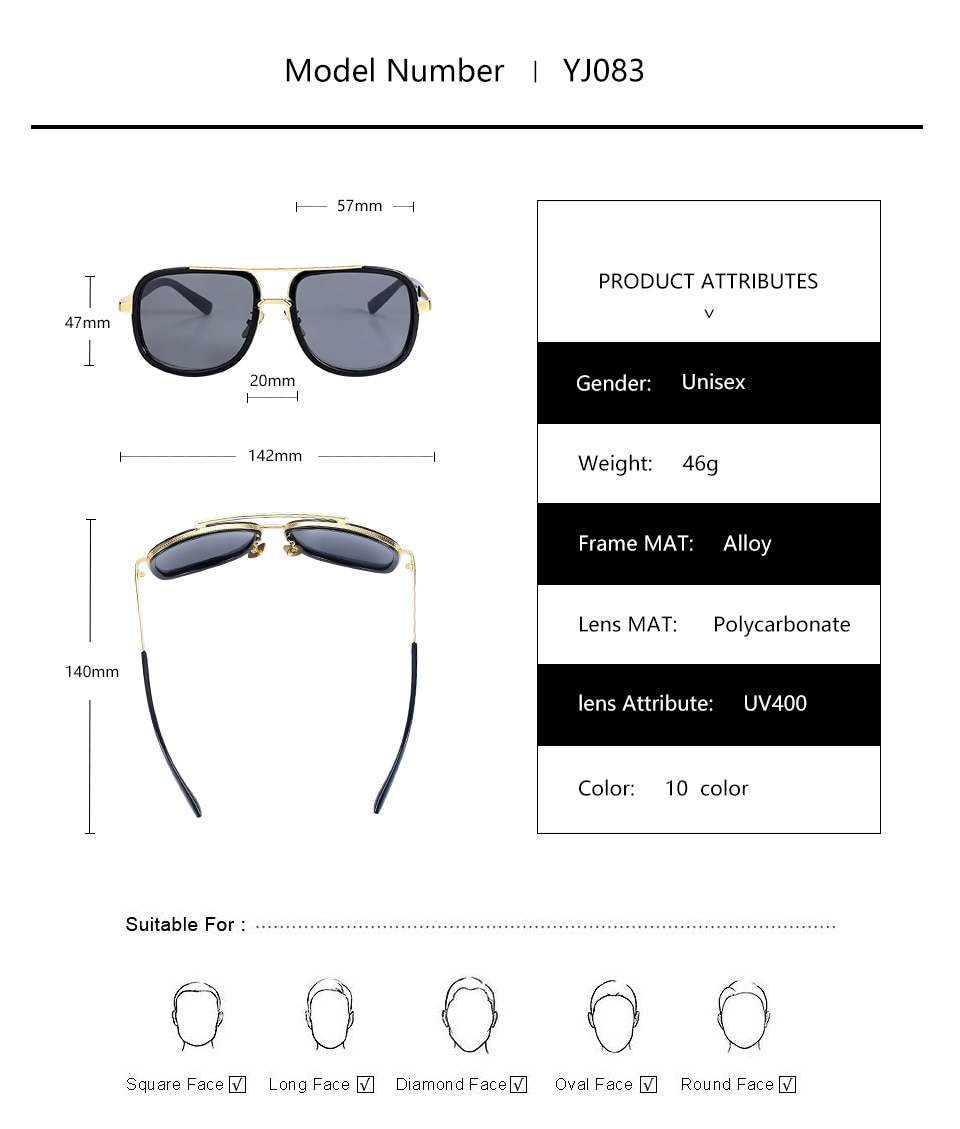 TrivCare New Fashion Big Frame Sunglasses For Men /Women