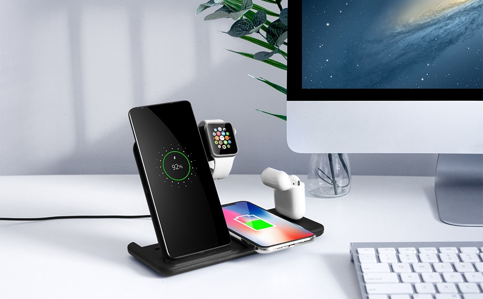 Wireless Charger Stand For iPhone 11 XR X 8 Apple Watch 4 in 1 Foldable Charging Dock Station for Airpods Pro iWatch