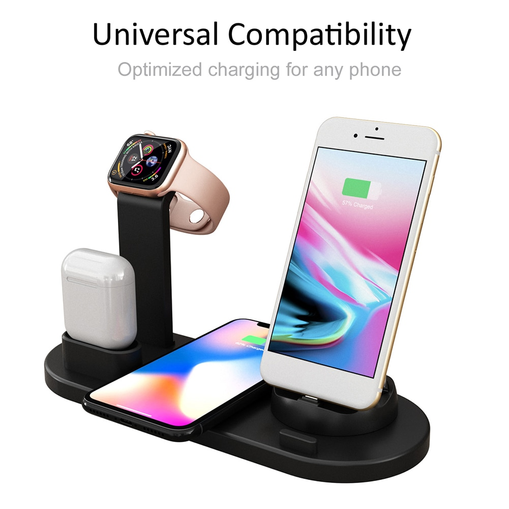 Fast Charging Stand Wireless Charger 4-in-1 Fast Power Dock Station for iWatch Airpods iPhone