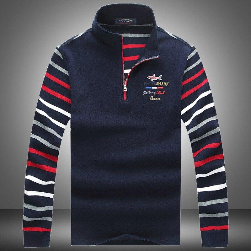 2020 Cotton Male Clothes High Quality Autumn Casual Loose Long Sleeve Stripe Men's Lapel Polo Shirts Shark Brand Plus Size 3XL