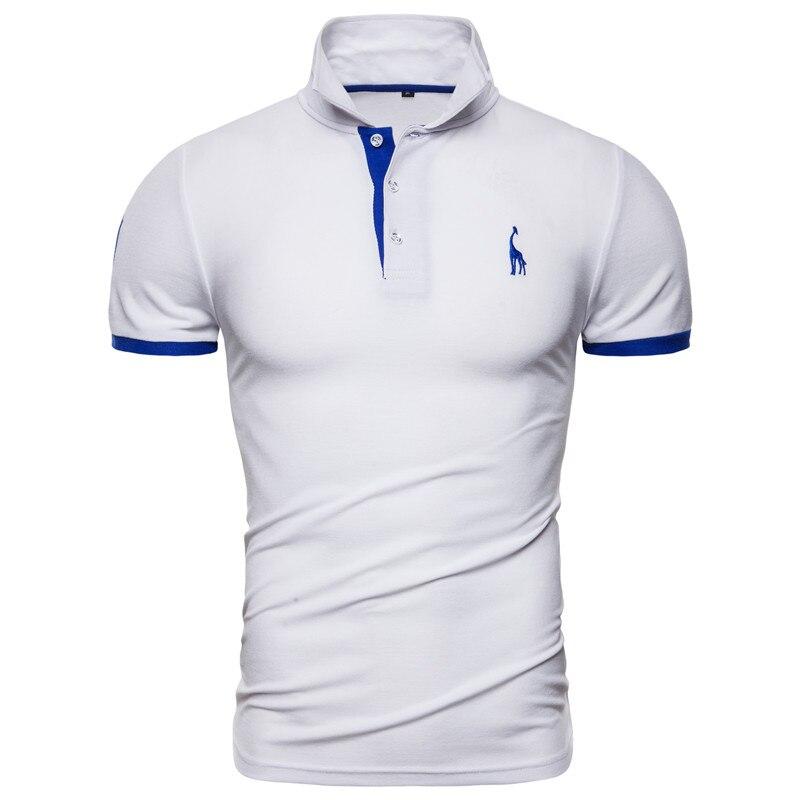Dropshipping 13 Colors NEGIZBER Brand Soild Men's Polo Giraffe Embroidery Short Sleeve Polos Men Casual Cotton Polo Shirt Men