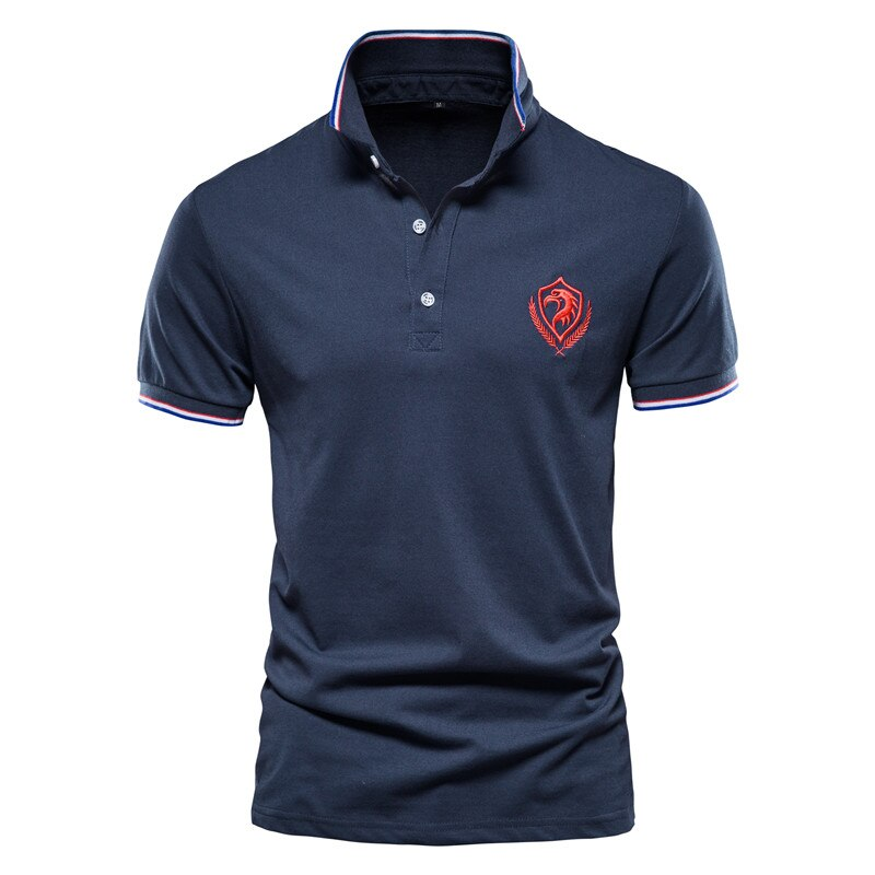 2020 New Summer Cotton Polo Shirt Men Top Quality Business Social Male Polos Short Sleeve Eagle Embroidery Sporting Mens Polo