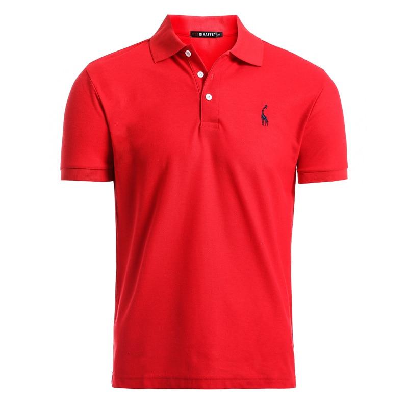 Dropshipping 2020 New Polo Shirt Men Solid Casual Cotton Polo Giraffe Men Slim Fit Embroidery Short Sleeve Men's Polo 10 Colors