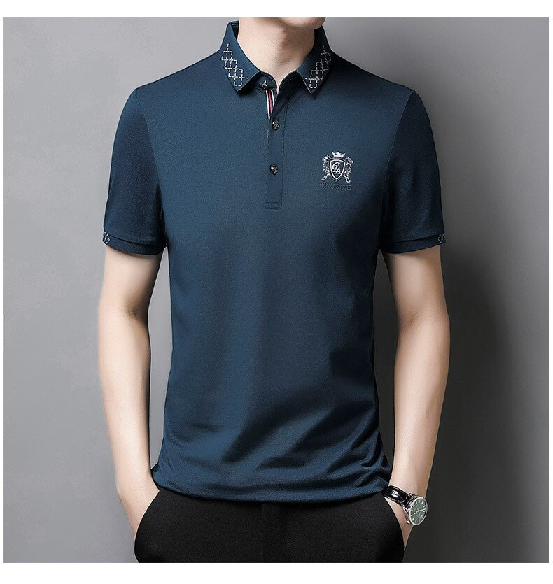Summer Short Sleeve Lapel T-shirt Men's Solid Color Youth Leisure Trend Silk Cotton Clothes Male Polo Shirt Men Tops Tees 207