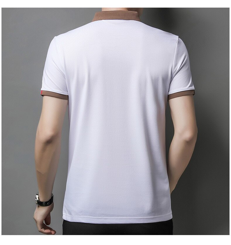 2021 Summer New Men's Lapel Short Sleeve T-shirt Mercerized Cotton Business Thin POLO Shirt European American Fashion Tops 201