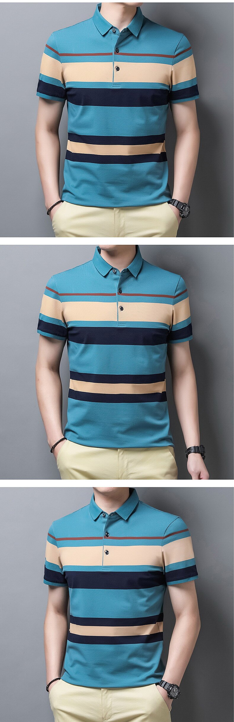 Summer 2021 New Combed Cotton Men's POLO Shirt Short Sleeve Lapel  T-shirt Thin Section Youth Striped Shirt Fashion Casual Tops
