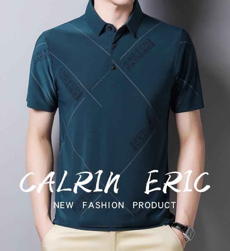 2021 Summer Thin Men's Short Sleeve Ice Silk Lapel T-shirt Fashion Business Leisure Polo Shirt Fit Loose Tops Tee 20111