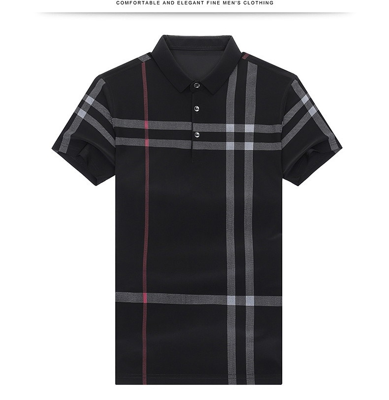 New Summer Short Sleeve Lapel T-shirt Men's Middle-aged Business Leisure Milk Silk Half Sleeve T-shirt Ice Silk Polo Shirt Tops