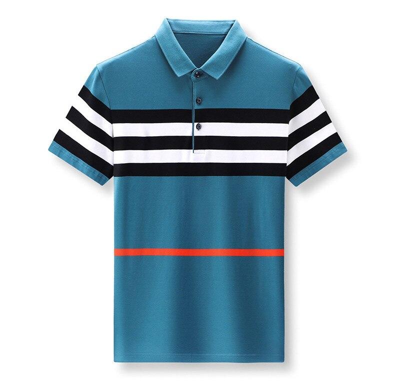 Men's 2021 Summer Combed Cotton Knit Short Sleeve Lapel T-shirt  Lapel Contrast Striped Polo Shirt 6810