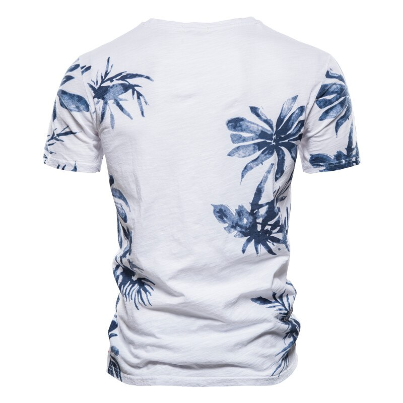 NEGIZBER 2021 Hawaii Style Leaves Printed T-Shirt Men O-neck 100% Cotton Casual Men's T Shirt Summer Quality Fashion Men Clothes