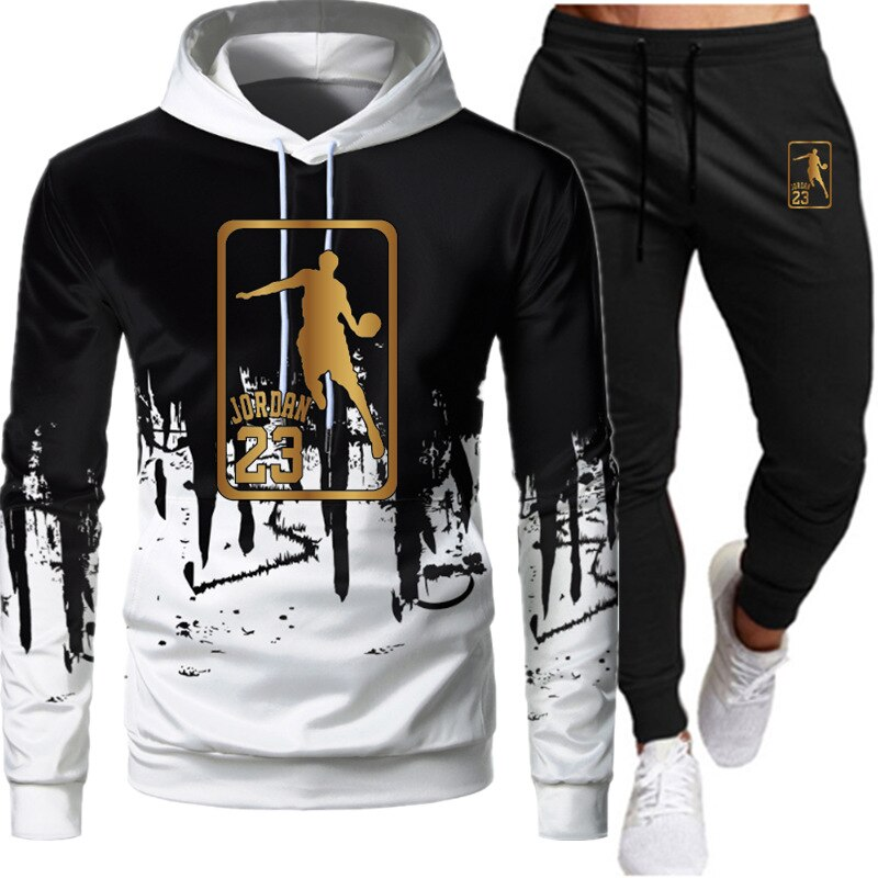 2021 Autumn White Black Men Hoodies Set Fashion Brand Casual Tracksuit Sports Two Piece Patchwork Hoodie Suit Masculino Homme