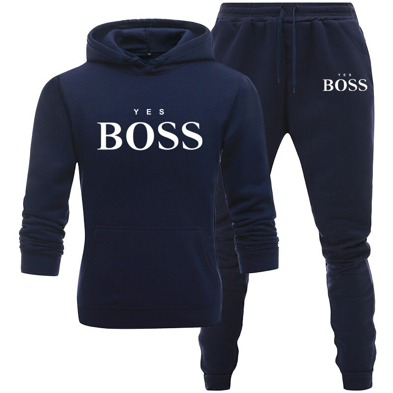 Tracksuit Men Fashion Hoodies Men Suits Brand Sets Men Letters Print Sweatshirt+Sweatpant men's Winter Fleece Hooded Pullover