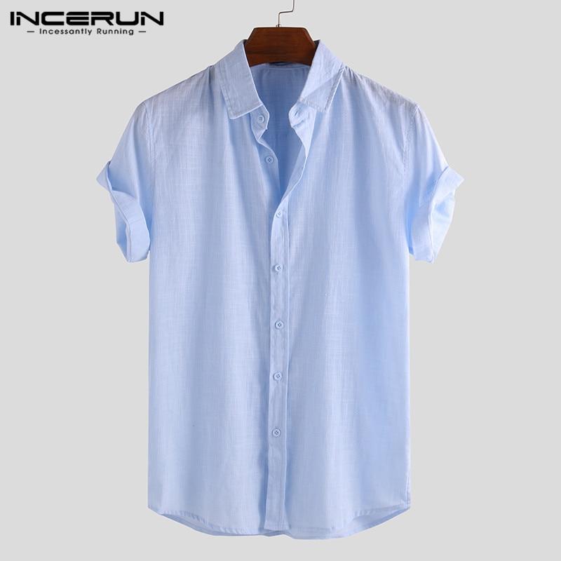 INCERUN Elegant S-5XL Male Tee Tops Casual Shirts Men Social Shirts Dress Button Turn Down Collar Slim Fit Men Clothes Camisa