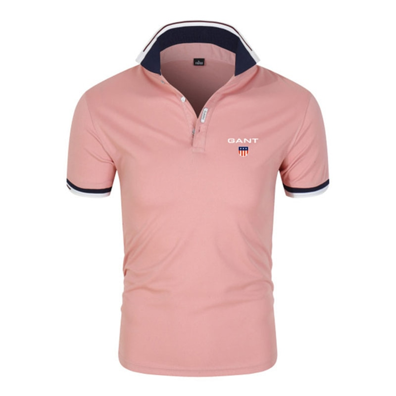 Summer New Men's Casual Fashion Knitted Lapel Polo Shirt Solid Color Short-Sleeved Outdoor Sports Cool Top Large Size
