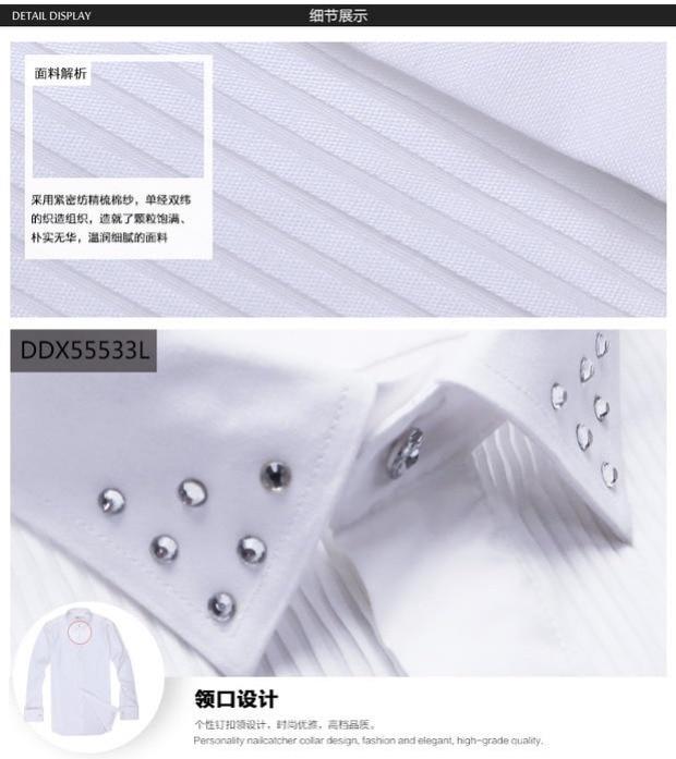 DEEPOCEAN mercerized cotton white shirt wedding tux men's long-sleeved shirt with diamond nightclub shirt