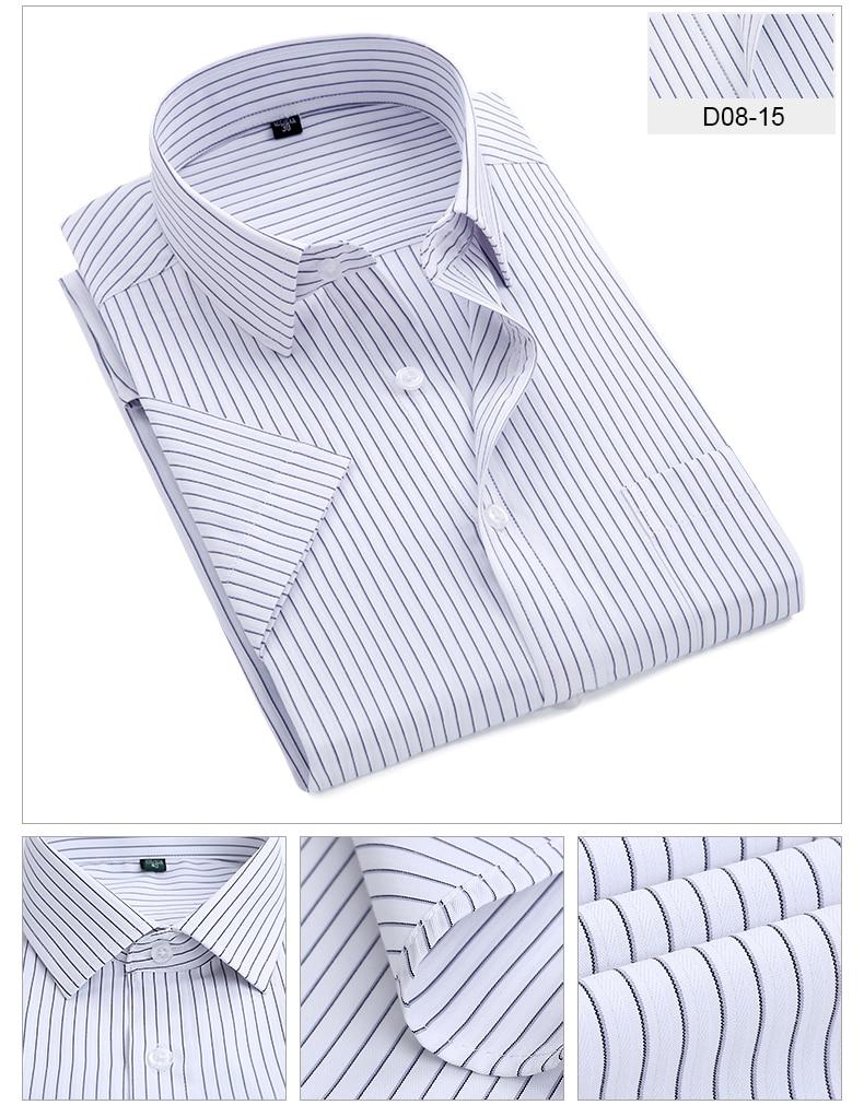 Summer S~8xl men's striped short sleeve dress shirt square collar non-iron regular fit anti-wrinkle  pocket  male social shirt