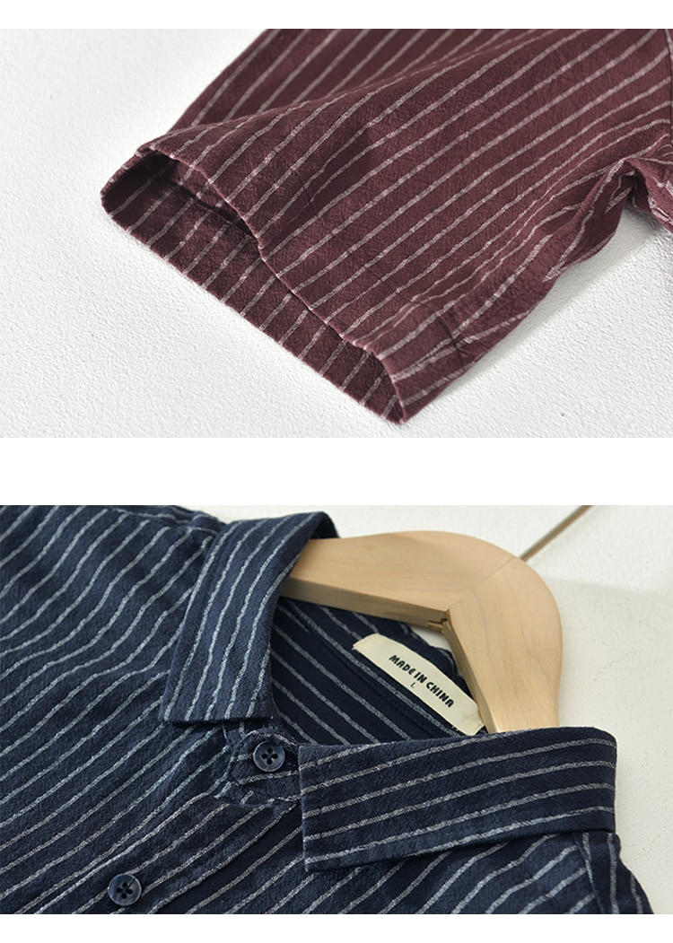 New Fashion men white striped shirt 100% short sleeve tops summer embroidery Breathable shirts for man clothing RC214
