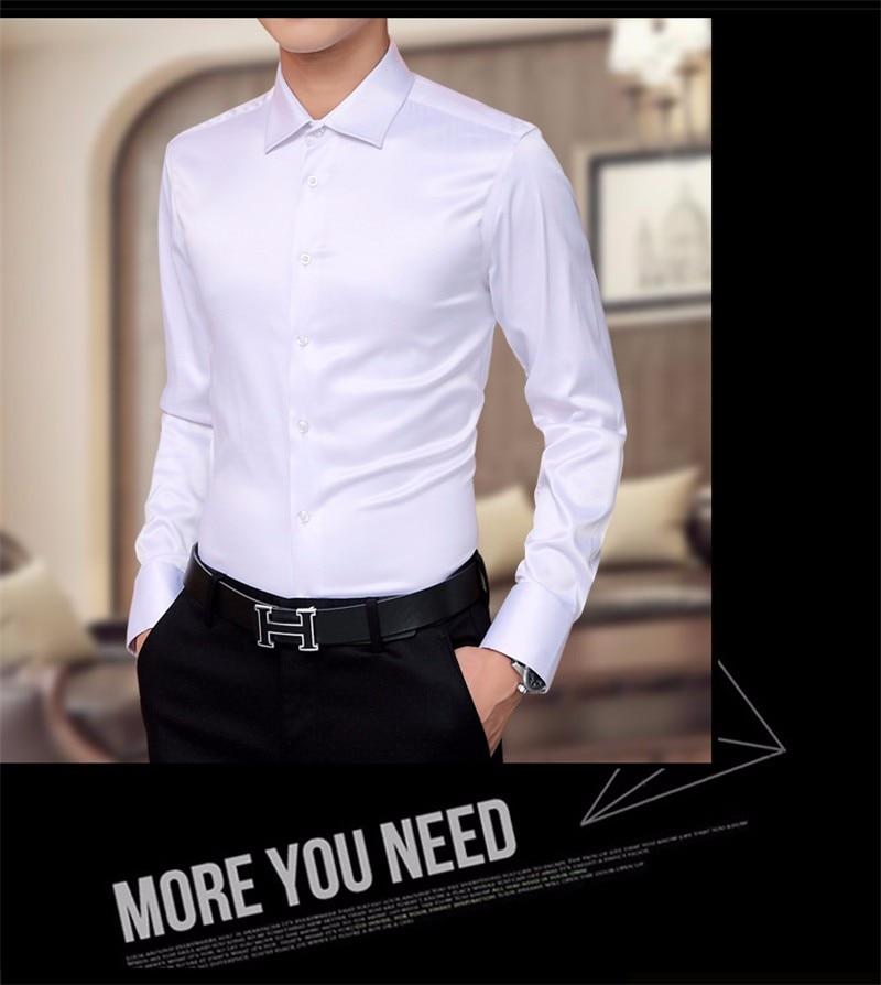 Plus Size 5XL 2021 New Men's Luxury Shirts Wedding Dress Long Sleeve Shirt Silk Tuxedo Shirt Men Mercerized Cotton Shirt