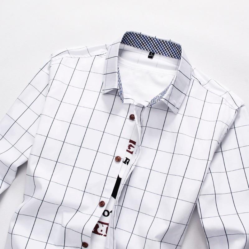 Plaid Shirt Men Long Sleeve Slim Fit White M-5XL 100% Cotton Dress Shirts Male Clothes Social Vintage Summer Casual Shirts Men