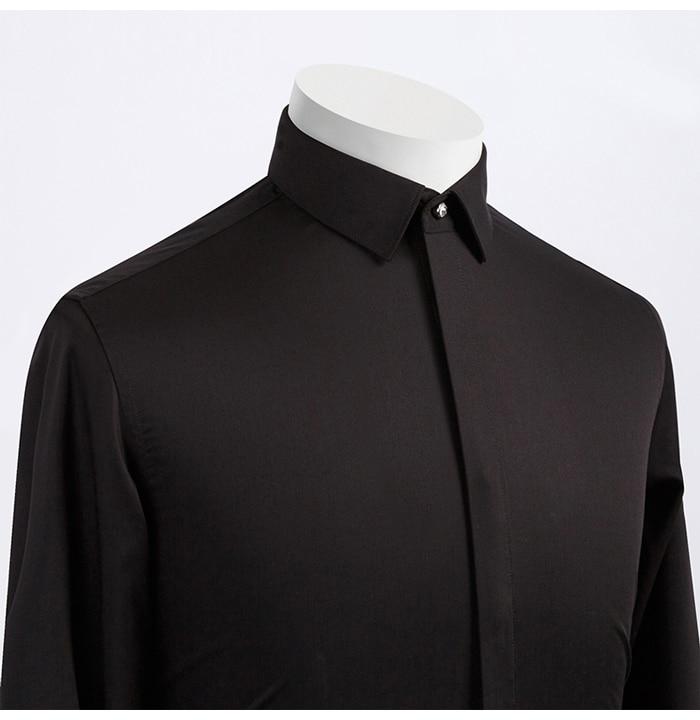 Men's Casual Hidden Diamond Buttons Non-iron Dress Shirts Pocket-less Design Standard-fit Long Sleeve Bamboo-fiber Tops Shirt