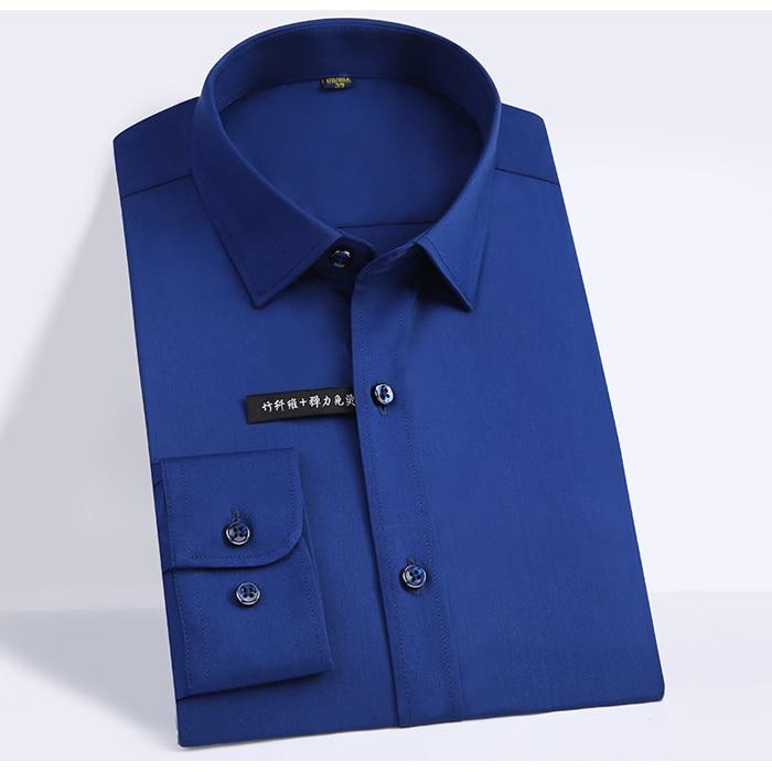Men's Regular-fit Long Sleeve Stretch Easy Care Shirt Formal Business Office/Working Wear Bamboo Fiber Solid Social Dress Shirts