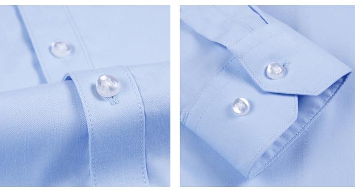 Men's Casual Non-iron Bamboo-fiber Classic Shirt Pocket-less Design Long Sleeve Standard-fit Formal Business Solid Dress Shirts