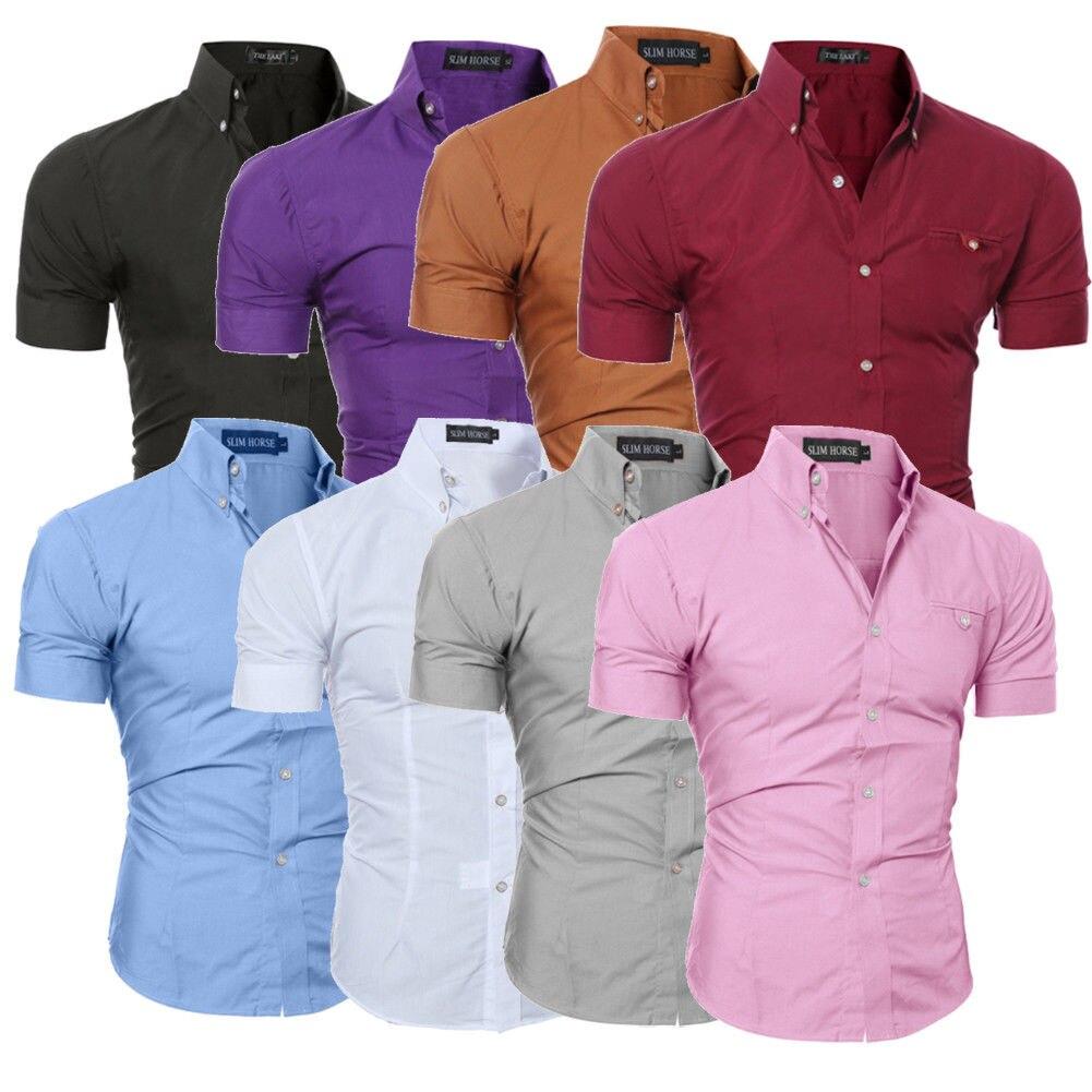 Hirigin Men Slim Fit Shirt Short Sleeve Stylish Formal Tops Men Casual Short Sleeve Shirts Buttons Top Clothing Solid Plus Size