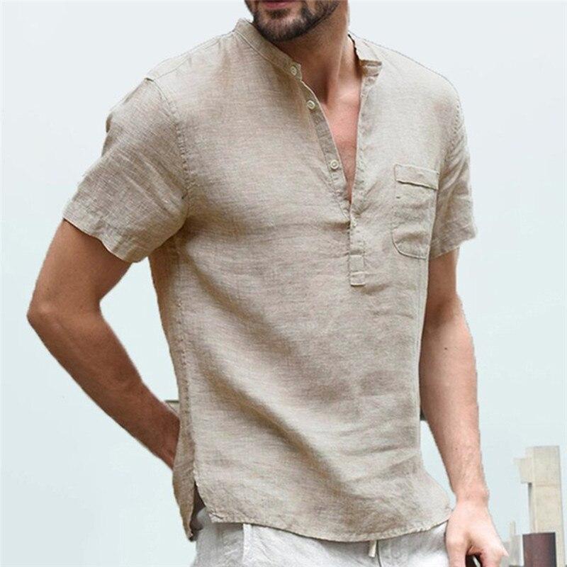 Men's Flax Linen T-Shirt Casual V-Neck Button Down  Comfortable High Quality T-Shirts Slim Fit Cotton Linen Short Sleeve Top