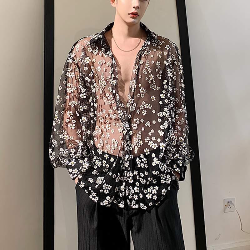 Fashion Men Mesh Shirt Transparent Long Sleeve Printed Lapel Loose Streetwear Blouse Party Clubwear Casual Casmia S-5XL INCERUN