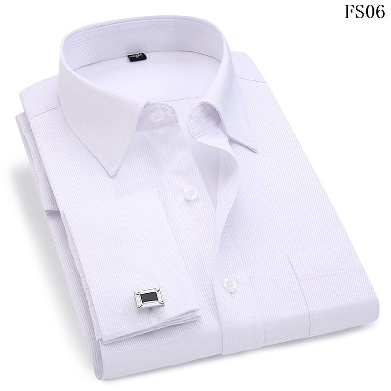 High Quality Striped Men French Cufflinks Casual Dress Shirts Long Sleeved White Collar Design Style Wedding Tuxedo Shirt 6XL
