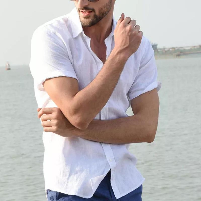 2019 New Men's Casual Cotton linen shirt Male White Short Sleeve Shirts Men Summer Solid Color Shirt Tops M-3XL