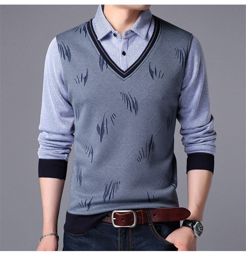 Two Clothes Causal Shirt for Men Long Sleeve Slim Autumn and Spring Male Polo Shirt Cotton 2021 New Korean Tshirt