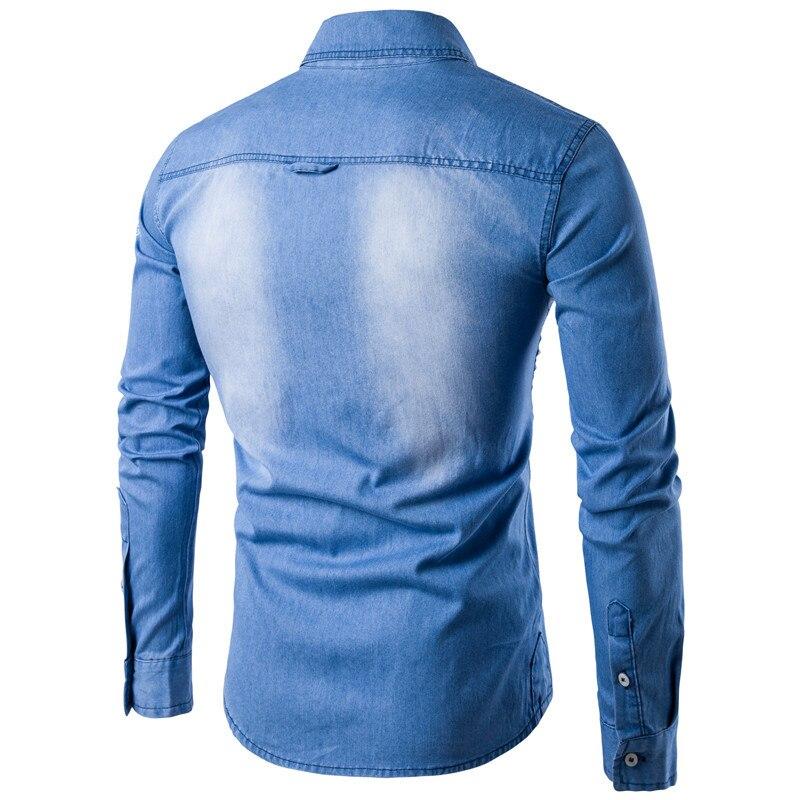 New Arrival Men Denim Shirt Long Sleeve Brand-Clothing Mens Casual Shirt High Quality Male Jean Shirt Camisa Masculina