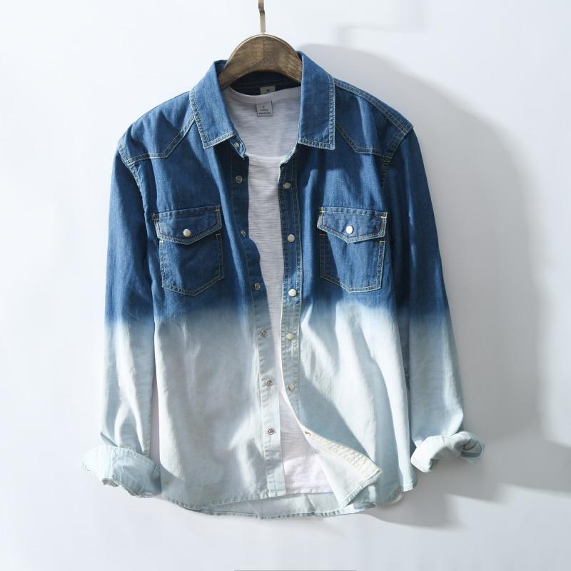 2019 Autumn Men Blue white Gradient Slim fit Long sleeve denim shirt classic style Casual Streetwear male Jeans Cargo Shirts