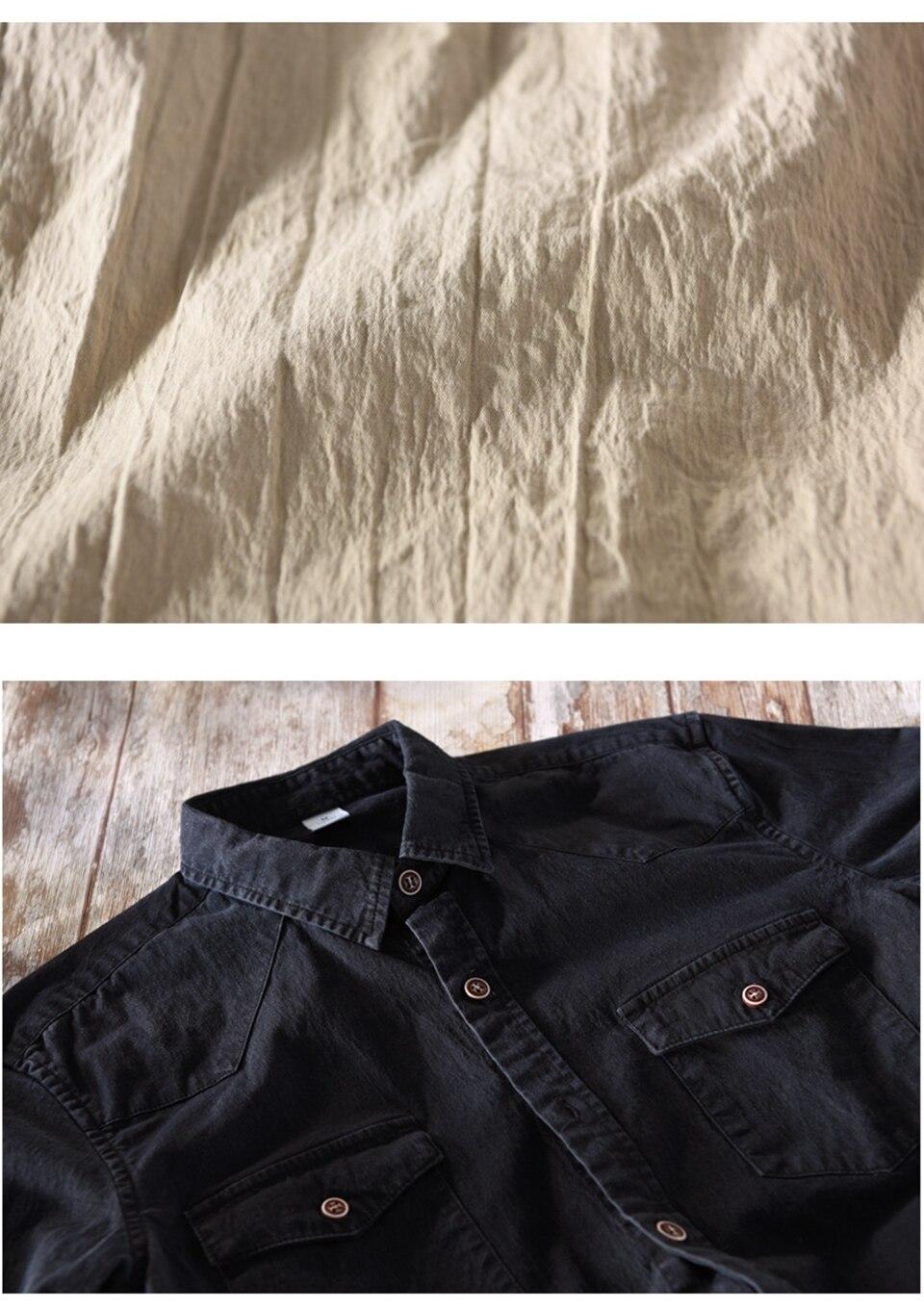 97% Cotton 3% Spandex Man Denim Shirt Quality Spring Autumn Long Sleeve Male Pocket Army Green Men Jean Casual Cowboy Shirts