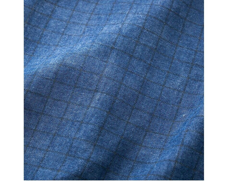 New Autumn Denim Jean Shirt Cotton Washed Plaid Checked Shirt Long Sleeve Casual Shirts Male Brand Clothes Mens Shirt