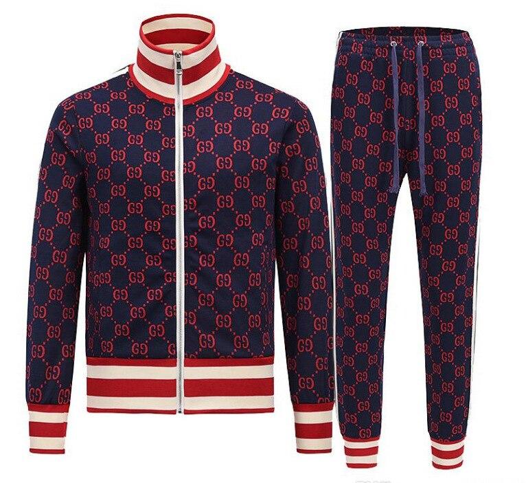New Men 2-piece Tracksuit Fashion Couple Set Sweatshirt 2020 Autumn Winter Sporting Jacket Pants Casual Printing Suit Sportswear