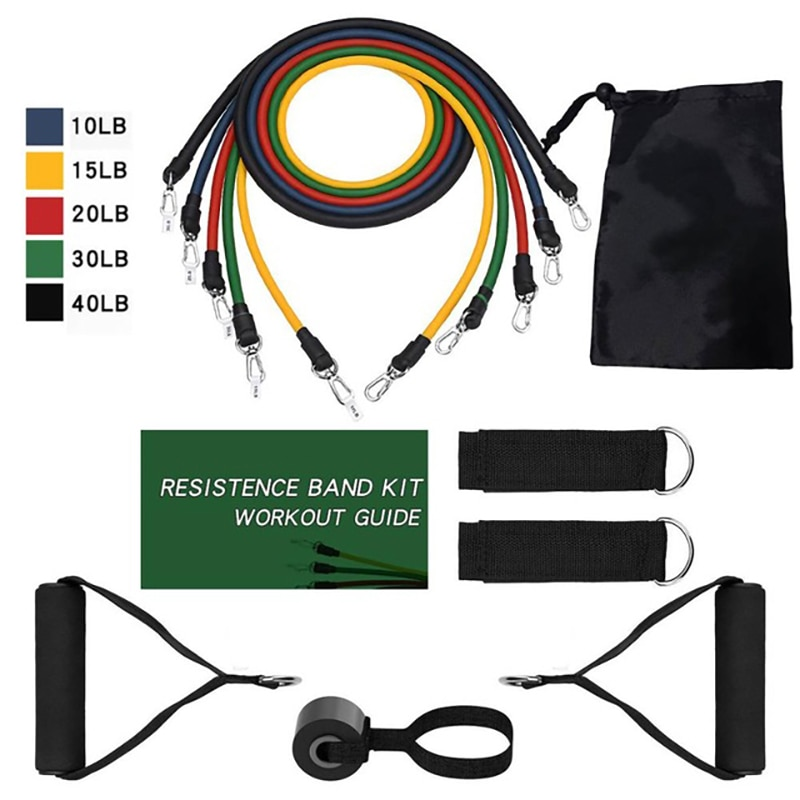 11 Pcs Resistance Bands Set Fitness Bands Resistance Gym Equipment Exercise Bands Pull Rope Fitness Elastic Trainingkout Elastic