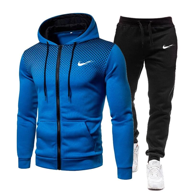 Men's Tracksuit Mesh Spot Hoodie 2021 New Hot Sale Sportswear Spring Clothing Streetwear Hip Hop Two Piece Set M-3XL