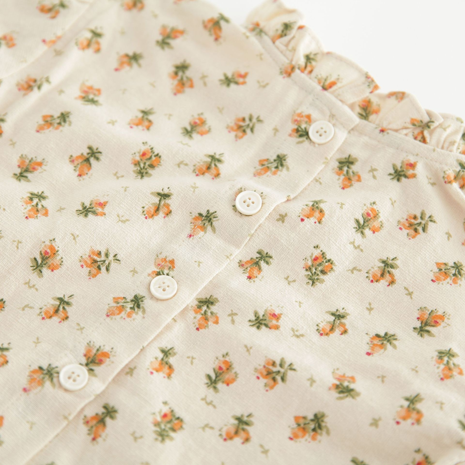 Vintage Baby Girl Clothes Spring Autumn Linen Cotton Girls Floral Blouse Shirt , Romper Dress Newborn Baby Girls Clothes Outfits