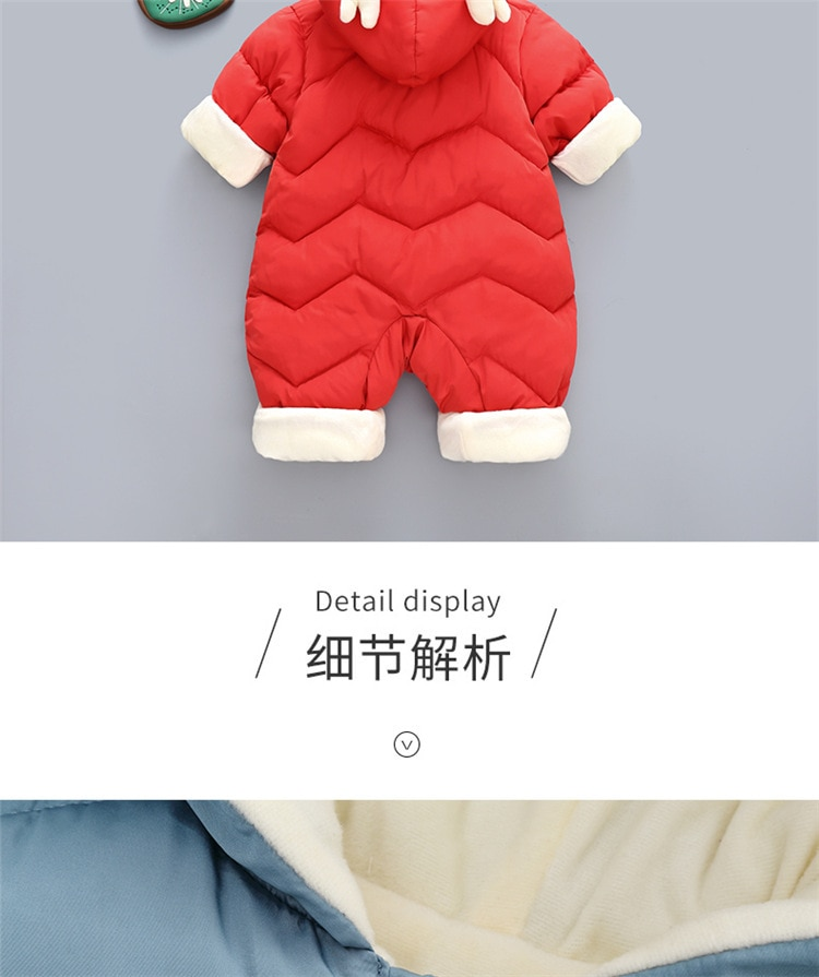 OLEKID 2020 Baby Winter Snowsuit Plus Velvet Thick Baby Boys Jumpsuit 0-2 Years Newborn Romper Baby Girls Overalls Toddler Coat